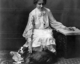 Helen Keller with a pet dog, 1904, Old Photo Reproduction