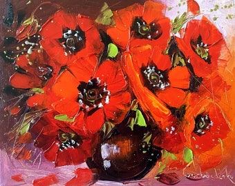 Red Poppy wall art, Home decor, Palette Knife, Original Oil Painting on Canvas