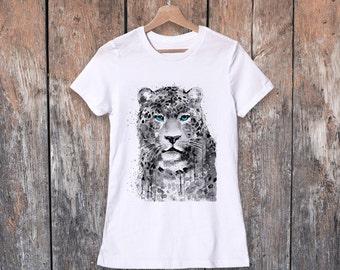 Panther Leopard watercolor ladies' T-shirt, women's tees, Teen Clothing, Girls' Clothing, ring spun Cotton 100%, watercolor print