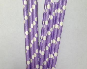 CLEARANCE! Paper Straws 25 Purple with white polka dots