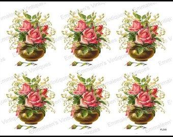 Vintage Shabby Victorian Pink Roses in a Vase Rosebuds Waterslide Decals~ FL355