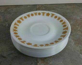 1 Corelle/Pyrex Butterfly Gold Saucer Plates - Tea, Dessert or Salad Plates