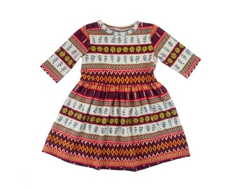 RTS size 4T Harvest Daily Dress with 3/4 Sleeves