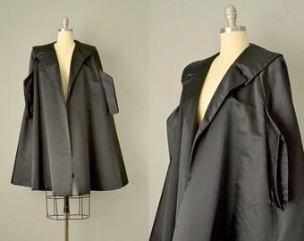 60s Coat // 1960's Mr. Blackwell Black Silk Satin Evening Coat // M, L, XL