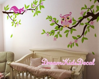 Owls and Branches Decal, Wall Vinyl for Nursery, Kids or Children Room, Wall Mural-DK244