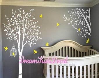 Tree decal nursery wall decal baby wall decal children wall decal-Lucky Tree Decal with corner branch birdcage-DK150