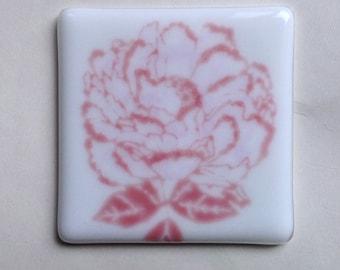 Rose, Night Light, Fused Glass, Flower, Pink, Fused Glass Night Light Cover, Shade, Changeables, Changeable, Nightlight
