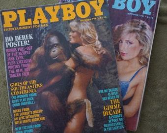 1981 Playboy Duo - September and November - Bo Derek Pull out as Tarzan's Jane Burt Reynolds Ad, OJ Simpson Dingo Ad, Adult Cartoons