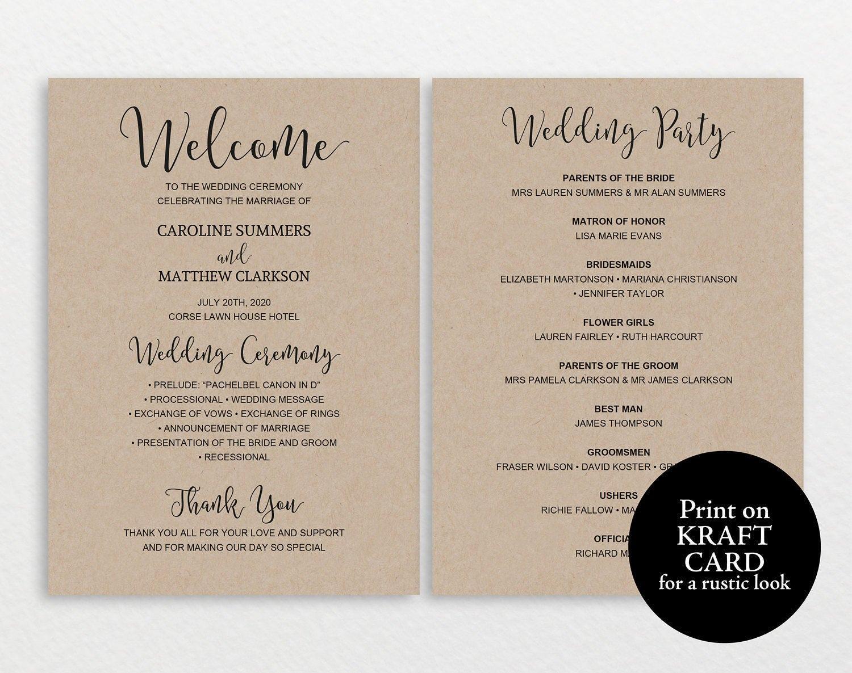Wedding Program Template, Rustic Wedding Program, Printable Wedding ...