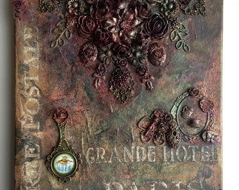 "OOAK Mixed Media Canvas Art ""Grande Hotel Paris"""
