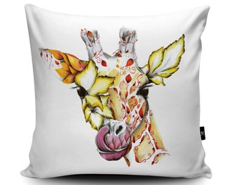 Floral Giraffe Cushion, Flowers Giraffe Pillow, African Giraffe, Safari Cushion Cover, Vegan-Suede 45/60cm, by Kat Baxter