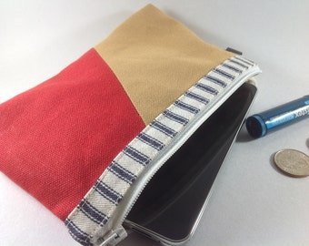 SALE,Tricolor tone canvas pouch, zip coin purse, phone clutch, phone wallet, phone pouch, red pouch, blue ticking cosmetic bag.