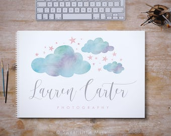 Photography Logo, Watercolor Clouds Logo, Clouds and Stars Logo, Photographer Logo Design