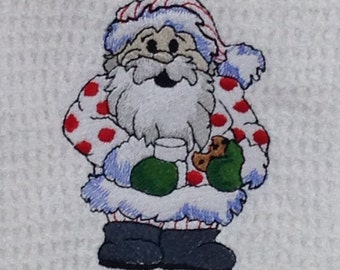 Santa with Milk and Cookies - Hand Towel - White