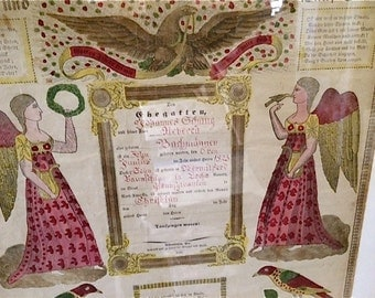 Antique Pennsylvania German Birth Certifcate or Taufshein