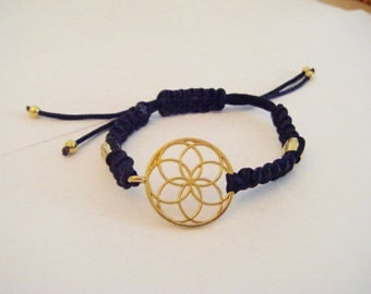 Bracelet macrame knotted life flower gold
