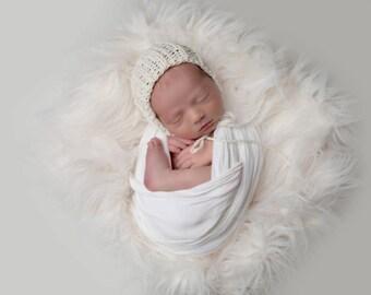 NEWBORN knit round back bonnet, photo prop, gift idea, boy, girl, knit, crochet