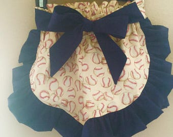Baseball Shorts with Navy Blue Ruffles and Belt