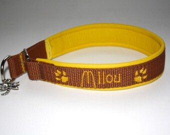 "Train stop collar with name + TelNr ""yellow brown"" leather dog collar"
