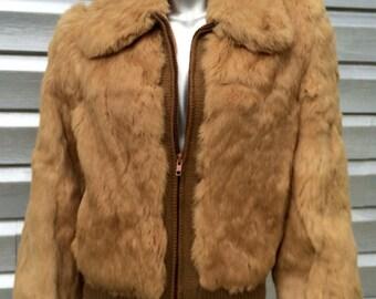 Vintage Rabbit Fur Knit Bomber Jacket