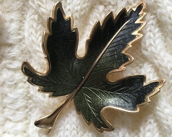 Vintage Green Enameled Leaf Pin, 1970's Green and Gold Leaf Brooch