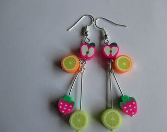 Long fruit drop earrings