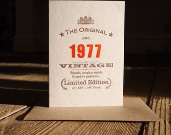Vintage Celebrations: 40th Fortieth 1977 Forties 1976 1975 1974 birthday letterpress greetings card invitation