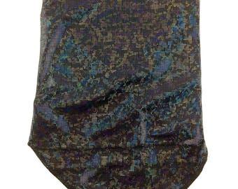 Holographic Black on Black Spandex Bandana w/ Shattered Glass Black Holo Rainbow pattern and Hidden Stash Pocket