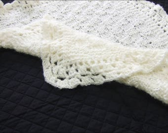 Fluffy Hand Knitted Wool Shawl/Blanket (32x30 inches)