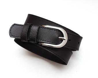 Black leather belt, black leather belt for women, ALL SIZES