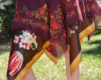 Maroon Brown Vintage Paisley Flower Fairy Skirt