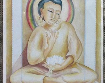 original painting, Gouache painting, Tibet, Original gouache, Ajanta, Buddha, Enlightenment, Meditation, India, Buddhism, paper, AdornDC