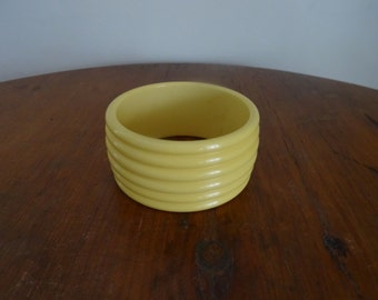 50's Bracelet Yellow Cuff Bangle Chunky Bracelet