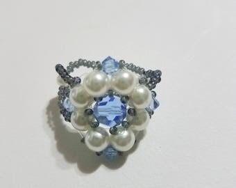 Rhombus Flower Ivory and Dark Blue Ring