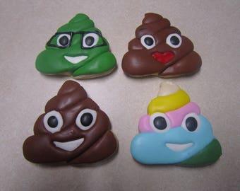 1 Dozen Poop Emoji Hand Decorated Cookies