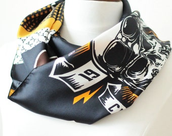 Ref: MJ, Snood Special Biker, handmade in lyon, high quality silk, French craftsmanship- Limited Edition-