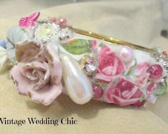 Broken Chic Jewelry, Broken Vintage China, Shabby Teacup Bangle, Honeymoon Bracelet