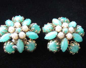 Schreiner of New York Vintage Earrings.  Faux Jade and pearl earrings circa 1950. Made by one of the master designer's of costume jewelry.