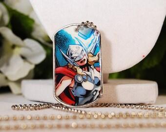 Lady Thor Dog Tag Necklace OOAK