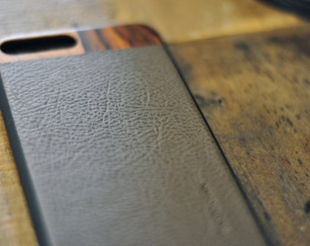 Grey Leather iPhone 7 Plus Case with Cherry and Bois De Rose Wood Case