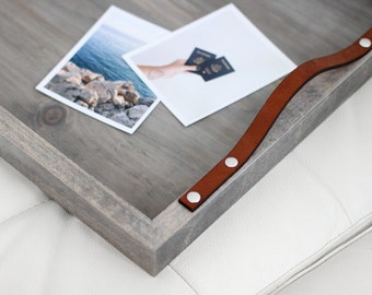 Driftwood + Leather Rectangular Breakfast Tray: handmade, solid wood, driftwood grey finish, newlywed home decor gift