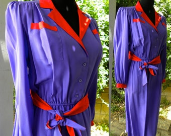 1970s 70s Silk Shirt Dress / Tie Sash Belt / Barnaby Rippit / Career Classic / Chic / Glam / PURPLE and RED / Vintage size 4