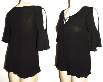 Vintage Black Gauze Top / Smock  Crochet trim / open shoulders / cold shoulder cut out / XS Small