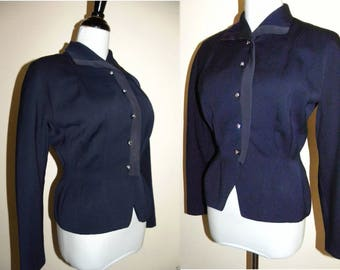 1940s Gabardine Jacket / Blazer / Rhinestone Buttons / Gross Grain Ribbon Trim / dark blue / WWII era / Vintage / XS/S