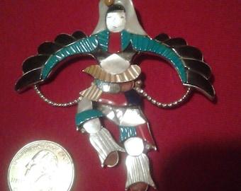 Zuni Native American Indian Jonathan Beyuka Eagle Kachina Dancer Pendant Pin/Brooch, Sterling, Turquoise, Coral, Jet, Lapis, Mother-Of-Pearl