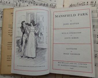 Mansfield Park Jane Austen many illustrations by Hugh Thomson Macmillan 1938 dust jacket