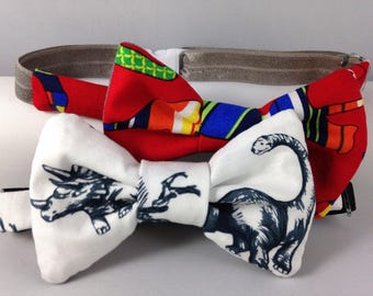 dinosaurs fossils red or blue boys bow tie neck wear adjustable elastic multiple sizes made to order