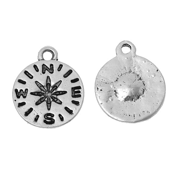 4 Antiqued Silver Compass Charms