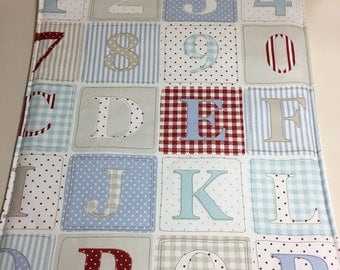 Baby travel changing mat,changing mat,wipeable changing mat,travel changing mat,blue alphabet fabric