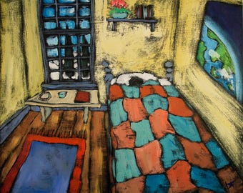 """Original Painting - In My Single Bed - 20"""" X 24"""" acrylic painting by Douglass Truth"""